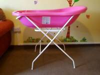 Baby bath with folding stand