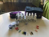 Genuine Gelish gel polishes, top coat, foundation, carry case and glitters.
