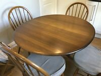 Ercol extendable round table & 4 chairs