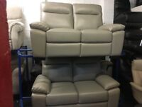 New/Ex Display LazyBoy Rome Grey Leather Recliner 2 + 2 Seater Sofas