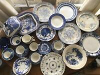 Vintage blue and white crockery