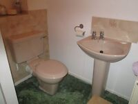 Ceramic washbasin, pedastool, toilet complete with seat and cistern