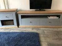 Grey/Oak TV unit & 2 Cupboards