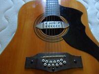 70s eko 12st guitar with 70s case