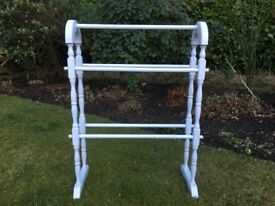 Hand Painted Antique Pine Towel Rail in Grey White