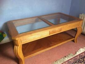 Solid Yew Wood Glass Coffee Table