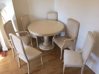 Cream Italian Style Expandable Pedestal Dining Room Table + 6 Upholstered Chairs