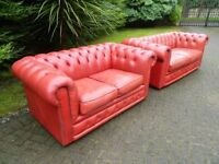 Chesterfield 100% Leather 3+2 Buttoned Suite