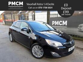 VAUXHALL ASTRA 2011 1.4 EXCITE 5dr - F.S.H - MOT MAY 19 - LOW INS - focus i30 megane (black) 2011