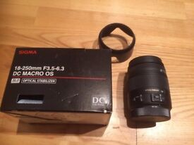 Sigma 18-250mm f3.5-6.3 DC Macro OS Lens for Canon - Optical Stabilisation, Boxed