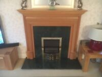 Solid Oak fire surround with Dimplex electric fire, Marble hearth and back insert.