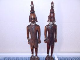 VERY OLD CARVED AFRICAN WOODEN FIGURE (PAIR)