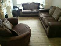 3 piece fabric and suede sofa suite