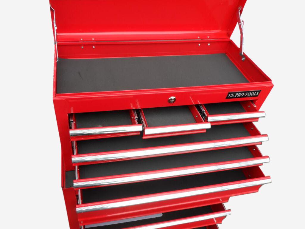 152 us pro tools red affordable tool chest rollcab steel box roller cabinet ebay. Black Bedroom Furniture Sets. Home Design Ideas