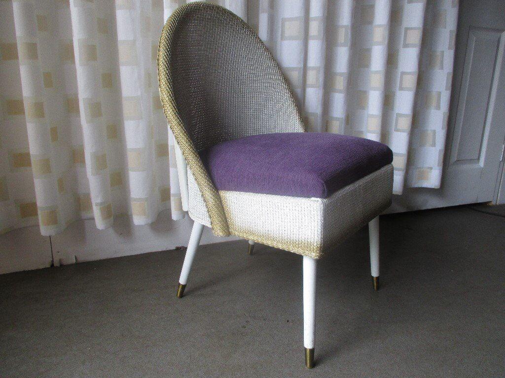 Vintage Lloyd Loom Style Retro Style Padded Bedroom Chair