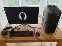 Gaming PC Alienware Aurora R8 Intel i7, Geforce RTX 2070, 2TB hard drive + MSI Optix Mag271C monitor
