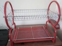 2 tier red/stainless steel dish drainer