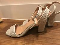 Coco Wren sparkly sequin glitter white wedding shoes UK4