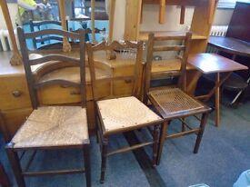 3 random solid wood vintage chairs.