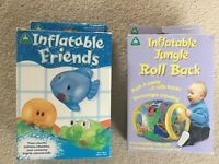 ELC Inflatable Friends bath toy and ELC Inflatable Jungle Roll Back toy