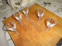 Distinctive 5 sherry glasses