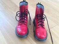 Dr Martens 1460W Red Patent Ladies/Older Girls Boots Size 3
