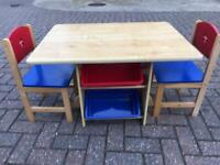 Children's storage table and 2 chairs