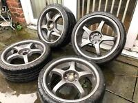 17 inch Alloys With Tyres 4 stud multifit Ford Peugeot Vauxhall Mini Etc