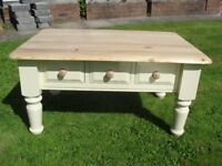 Shabby Chic Solid Pine Chunky Farmhouse Coffee Table With 3 Drawers In Farrow & Ball Cream No 67