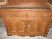 RUSTIC PINE DRESSER. Delivery poss. 2 SECTIONS , SIDEBOARD BASE & SHELVED CUPBOARD.