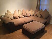 Corner sofa with foot stool