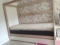 Beautiful Girls Single Four Poster Solid Pine White Washed Bed with Trundle & Mattress