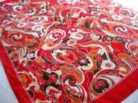 VINTAGE RETRO Scarf, Orange & Red, 100% Silk, Measures 81cm x 81cm