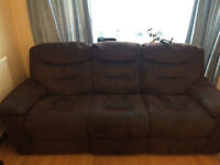 Brown Three seater recliner sofa- Mint Condition
