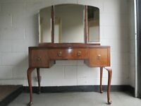 VINTAGE MAHOGANY AND WALNUT THREE DRAWER DRESSING TABLE WITH TRIPLE MIRROR FREE DELIVERY