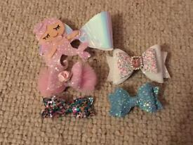 Little girls set of 5 bows including mermaid