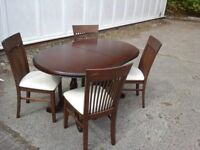 Dark Wood table and 4 X chairs (Pedastall legs)