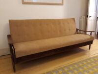 Danish style vintage sofa bed - hardwood, with under storage