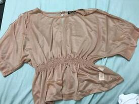Tokyo doll pink glitter sheer top. Size 14