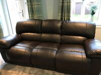 Harley 3 Seater Sofa with 2 Electric Recliners AND Armchair with Electric Recliner - Brown Leather.