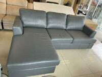 Brand New Designer 4-5 Seater Seater Top Grain Leather Grey Left Hand Corner Sofa.