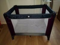 Mamas and papas plum grey foldable travel cot / playpen and additional mattress