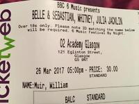 Belle & Sebastian 2 tickets O2 Academy Mar 26 £30 each.