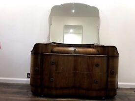 Walnut Vintage Vanity Makeup unit with mirror