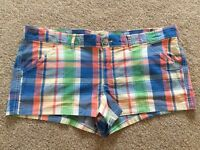 Hollister So Cal Stretch Bright Multicoloured Chequered Shorts UK 12-14 BNWOT