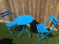 Blue metal garden table and chairs