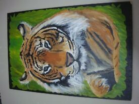 Painting of tiger. Not a print, it's hand painted - acrylic paints.