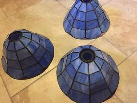 Set of three blue light shades