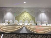 Flower Wall - Luxury Ivory Silk Flower Wall to hire for Weddings, Parties, Corporate Events
