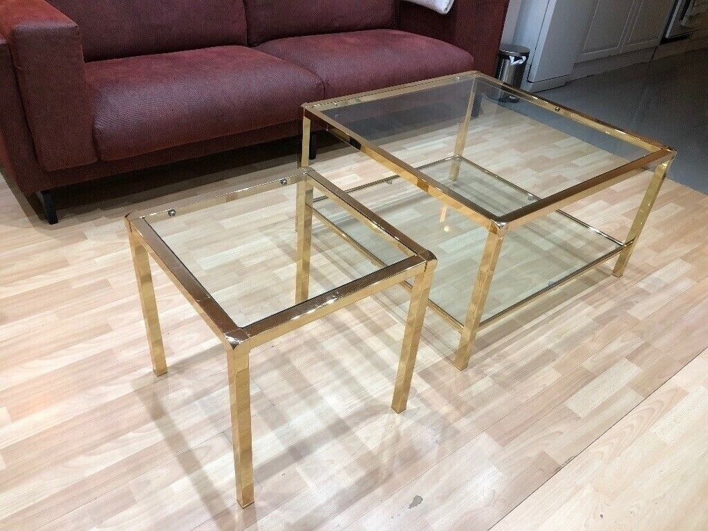Polished Brass Gold Coffee Table With Glass Top In Seven Sisters